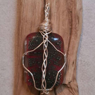Stunning Wire-wrapped Fused Glass Pendant