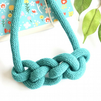 Turquoise rope necklace, knot cotton fabric necklace