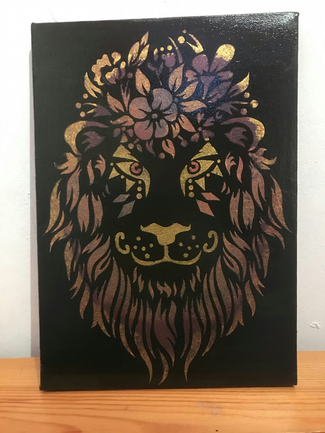 Acrylic painting - metallic lion