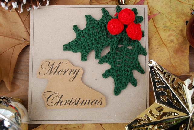 Crocheted Holly Leaf Christmas Card