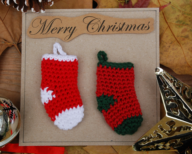 Crocheted Christmas Stockings Christmas Card