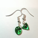 Green resin oval and triangle earrings