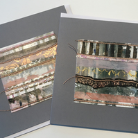 Pack of 2 Handprinted Collaged and Stitched Large Square Cards Grey Bronze Pink