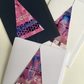 Christmas Tree Collaged & Stitched Gift Cards Pink Pack of Three