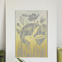 Original Lino Print of Hare Sitting in a Meadow Grey Yellow