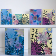 Pack of 4 Flower Print Cards