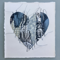 'Stitched Together' Medium Printed and Stitched Collaged Heart Blue