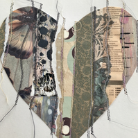 'Stitched Together' Medium Printed and Stitched Collaged Heart