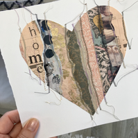 'Home' Medium Printed and Stitched Collaged Heart