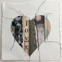 'Love Heart' Small Printed and Stitched Collaged Heart
