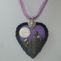 'Ring of Brodgar Stones in the Moonlight' Heart shaped Necklace