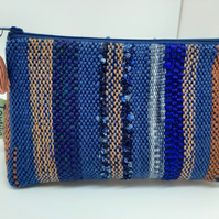 Medium handwoven, handmade cosmetic pouch