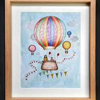 Your Child or Family Flying In A Hot Air Balloon - A Hand Painted Original