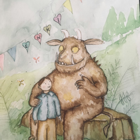Your Child Sitting With The Gruffalo - Original,Framed Hand Painted Watercolour