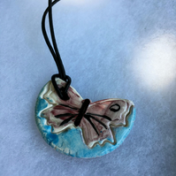 Red Butterfly Ceramic Pendant