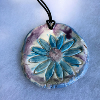 Blue Flower Ceramic Pendant