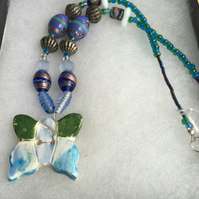 Blue and Green Butterfly Necklace