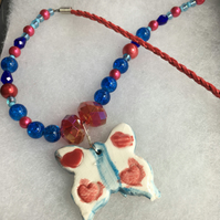 Red & Blue Butterfly Necklace