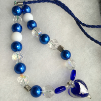Blue and White Heart Necklace