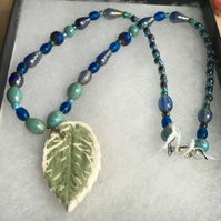 Earthy Green Leaf Necklace