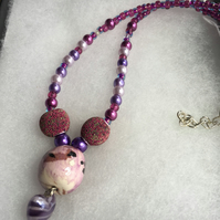 Purple and Pink Beaded Necklace