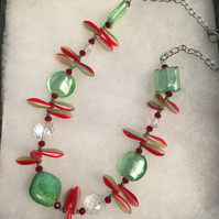 Green & Red Fireworks Necklace