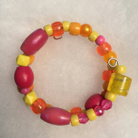 Small Pink and Orange Memory Wire Bracelet