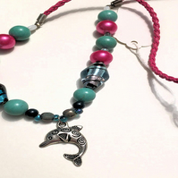 Pink and Blue Dolphin Dance Necklace