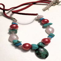 Blue and Peach Necklace
