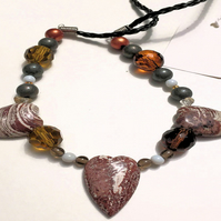 3 Stone Heart Necklace