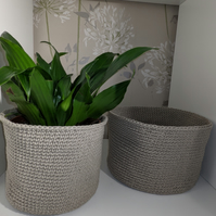 Handmade Crochet recycled cotton blend storage Baskets come as a pair