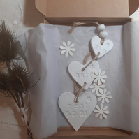 Hanging clay engagement gift hearts