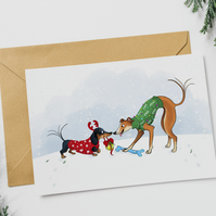 (Pack of 4) Dachshund and Greyhound Christmas Card