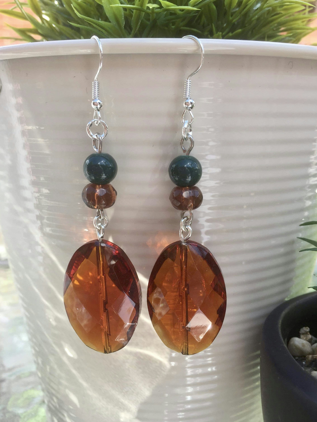 Handmade Rustic Brown and Green Glass Beaded Dangle Earrings