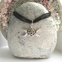 Silver Tripple Moon Goddess Charm Necklace