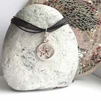 Silver Pentagram Charm Necklace