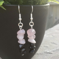 Black Obsidian and Rose Quartz Gemstone Chip Dangle Earrings