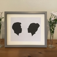 Personalised family silhouette portrait framed and ready to display or give