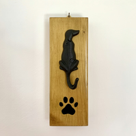 Black Cast Iron Dog Lead Wall Hanger With Hand Painted Paw Print
