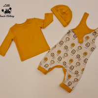 Uni-sex Baby Romper Dungarees, Hat and T-shirt Set 0-3m, 3-6m, 6-12m