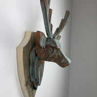 STAG HEAD Wall Mounted - Hand Crafted - Copper Verdigris Stag - Faux Deer