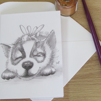 Husky Fairy Greeting Card