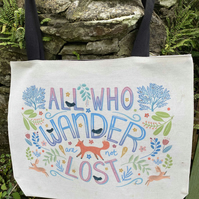 Large Illustrated 'All Who Wander' Canvas Tote Bag. Can be personalised.