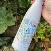 Drinks Bottle with 'All Who Wander' illustration. Can be personalised.