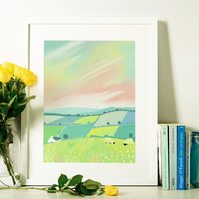 Pastel Pastures Signed Art Print