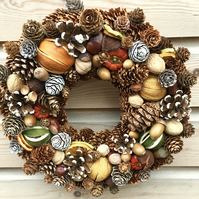 Luxury Christmas Wreath Dried Fruit Pine Cone Crafted in Gloucestershire