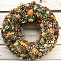 Luxury Christmas Pine Cone Wreath Golden Oranges Crafted in Gloucestershire