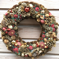 Luxury Christmas Pine Cone Wreath 40cm Gold and Red Crafted in Gloucestershire