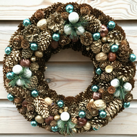 Luxury Christmas Pine Cone Wreath Gold and Turquoise  Crafted in Gloucestershire