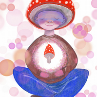 Meditating Mushroom Illustration-watercolour art print